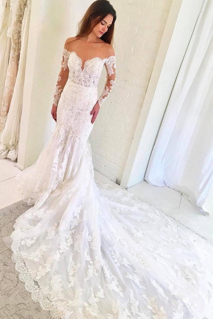 Scoop Long Sleeves Mermaid Wedding Dresses Tulle With Applique Chapel Train