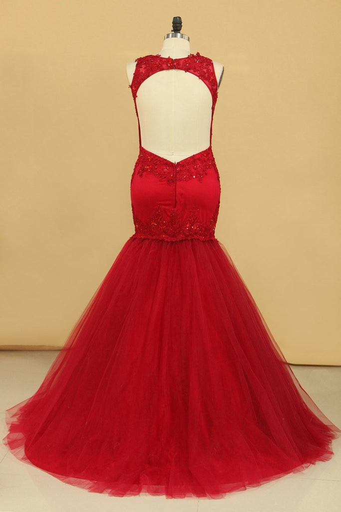 2019 Plus Size Open Back Scoop Prom Dresses Mermaid With Applique And Beads Tulle