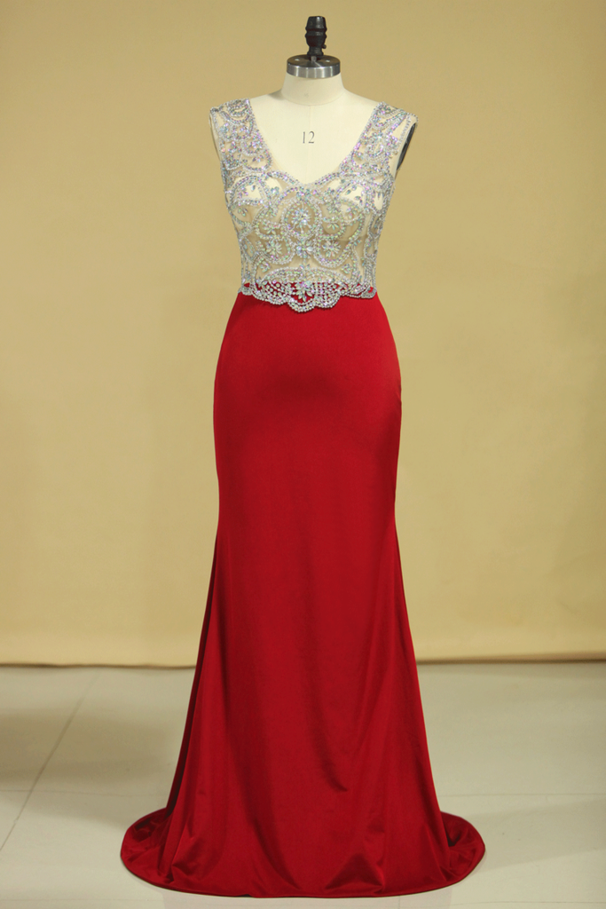Red V Neck Beaded Bodice Open Back Prom Dresses Column Spandex Sweep Train Plus Size