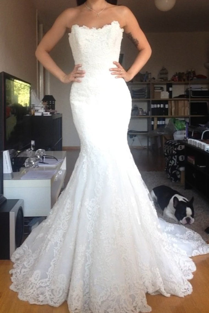 2019 Tulle Wedding Dresses Mermaid Strapless With Applique Covered Button