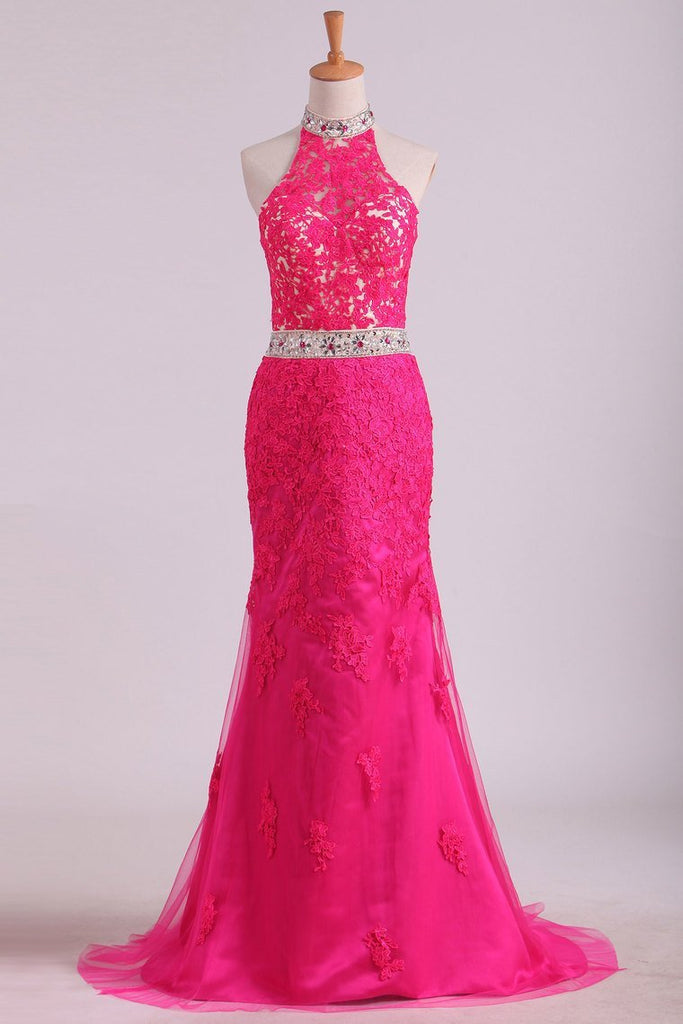 High Neck Open Back Sheath Prom Dresses Tulle With Applique And Rhinestones