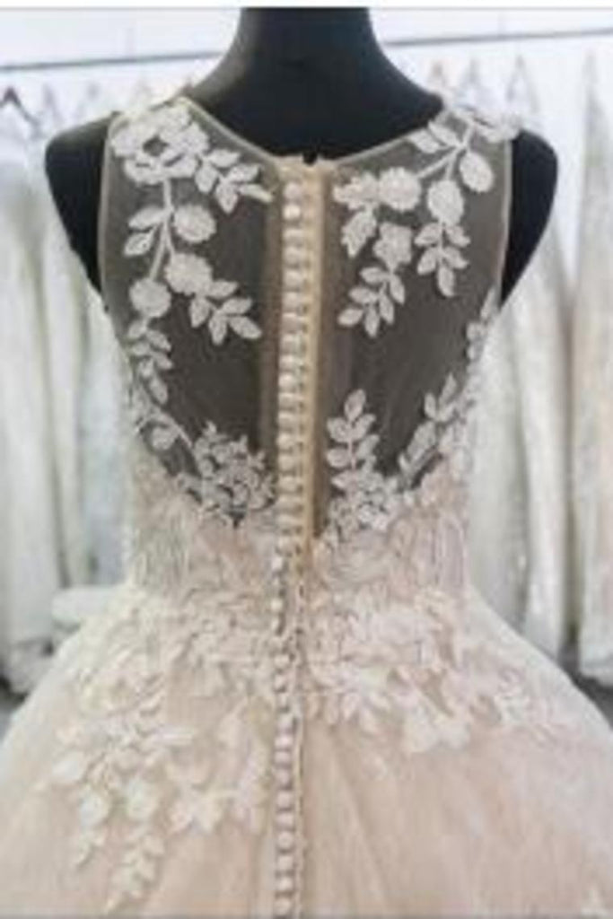 2021 Wedding Dresses Scoop With Applique And Beads Tulle