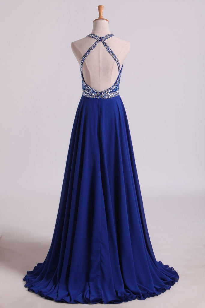 2021 A Line Prom Dresses Halter Beaded Bodice Open Back Sweep Train Chiffon & Tulle Dark Royal Blue