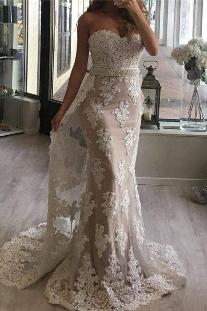 2019 Prom Dresses Mermaid Sweetheart Tulle With Applique And Beads