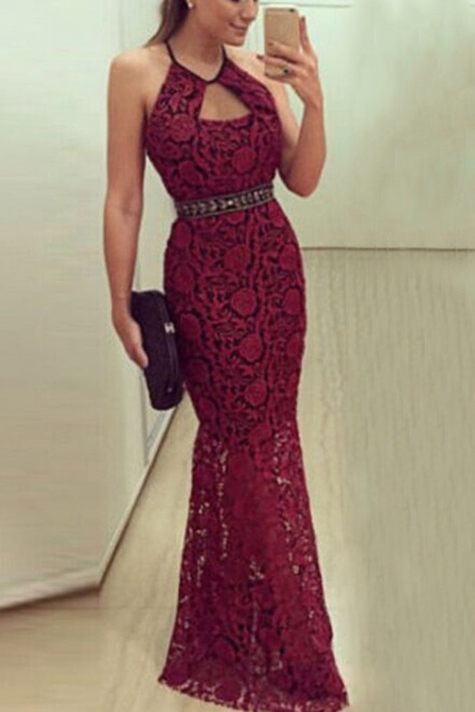 2019 Spaghetti Straps Mermaid Lace Evening Dresses With Beaded Waistline