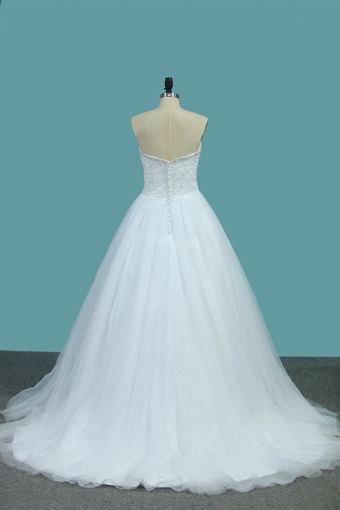 2021 Sweetheart A Line Tulle Wedding Dresses Beaded Bodice Court Train