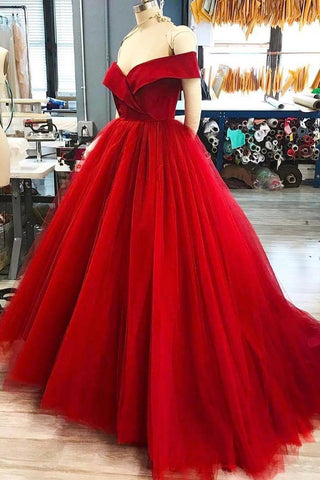 Off The Shoulder Tulle A Line Sweep Train Prom Dresses