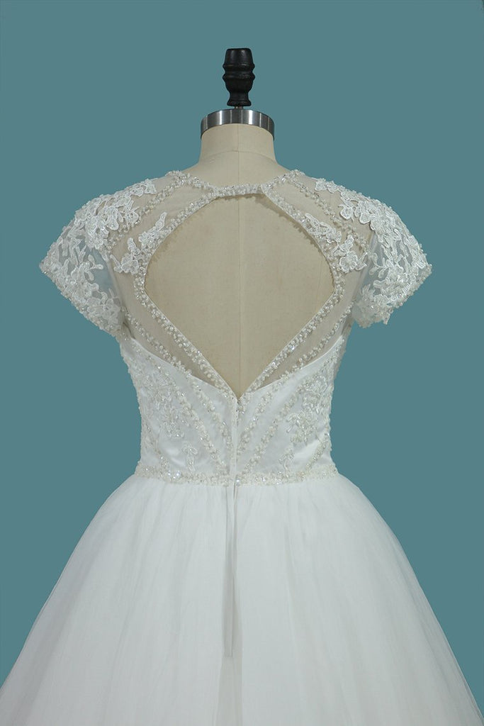 Tulle A Line Scoop Short Sleeve Wedding Dresses With Applique And Beads Open Back