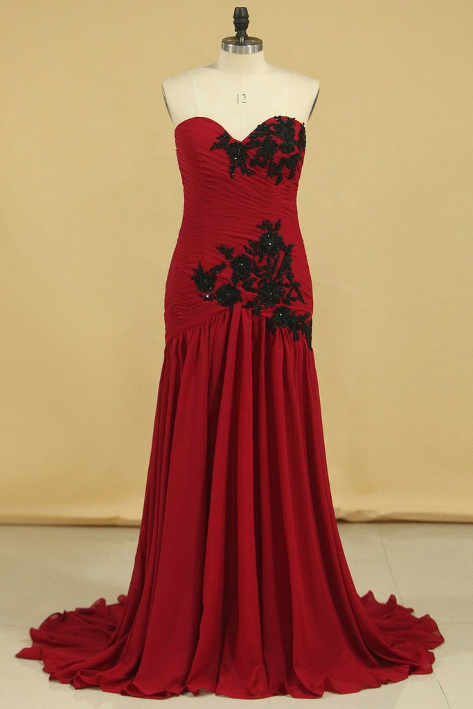 Burgundy/Maroon Sweetheart Mermaid Chiffon Evening Dresses With Ruffles And Applique