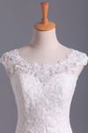New A-Line Wedding Dresses Bateau Court Train Covered Button Tulle & Lace Applique