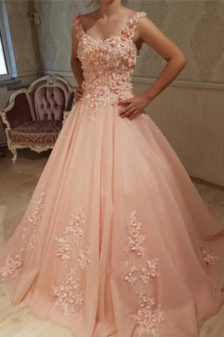 Gorgeous Ball Gown Round Neck Sweetheart Open Back Peach Lace Long Prom Dresses JS134