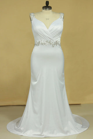 2020 Plus Size Wedding Dresses A Line V Neck Open Back With Beading Stretch SSMPM7HK7BM