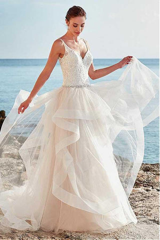 Spaghetti Straps Neckline Backless V-Neck Tulle A-Line Wedding Dresses With Beaded JS310