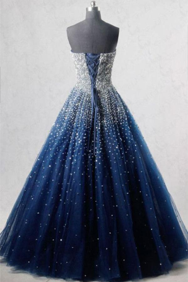 A-Line Blue Sweetheart Sequin Spaghetti Straps Tulle Long Lace up Prom Dresses UK JS519