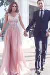 Elegant Pink Long V-Neck Appliques Sleeveless A-Line Chiffon Prom Dresses UK JS374