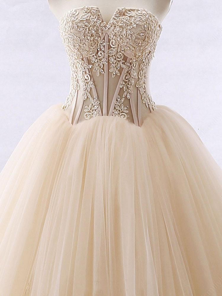 Chic Ball Gowns Strapless Sweetheart Tulle Lace up Modest Cheap Lace Long Prom Dresses JS326