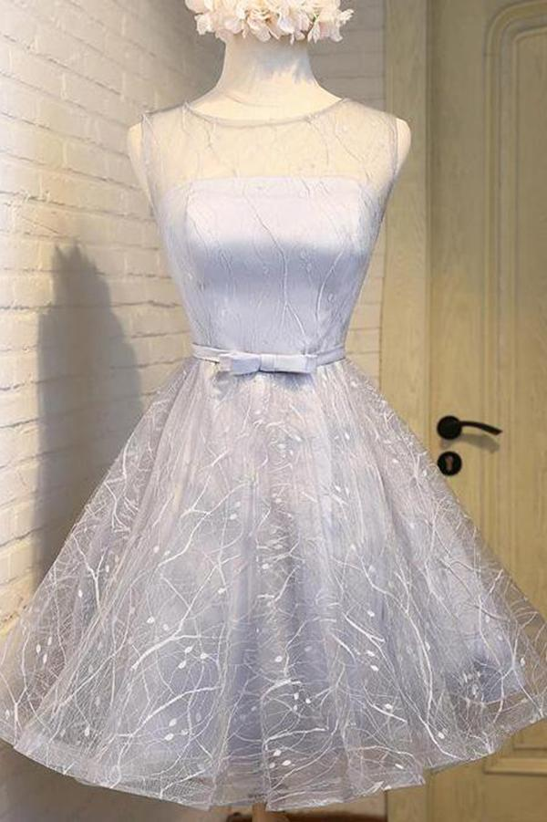 Cute Silver A Line See Through Scoop Organza Top Cheap Lace up Homecoming Dresses JS866