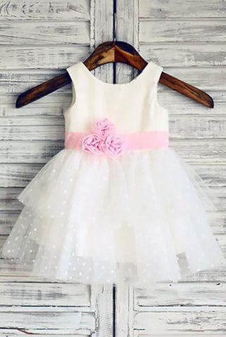 Ball Gown Scoop Neck Tulle Ivory Elastic Woven Satin Short Mini Tiered Flower Girl Dresses JS735