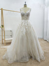 A Line Floral Appliques Beach Wedding Dresses Backless Tulle Boho Wedding Gowns JS947
