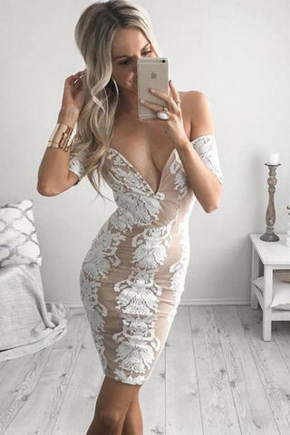 Tight Off-the-Shoulder V Neck Lace Short Satin Homecoming Dress with Appliques JS660