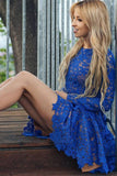 Cute A Line Round Neck Long Sleeves Royal Blue Lace Appliques Short Homecoming Dresses JS982