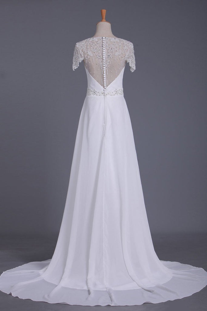 Scoop Wedding Dresses Sheath With Beading Chiffon Sweep Train