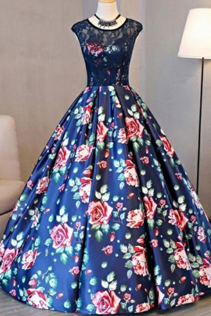 2021 Ball Gown Scoop Lace Floral Print Floor-Length Chic Prom Dress Evening Dress