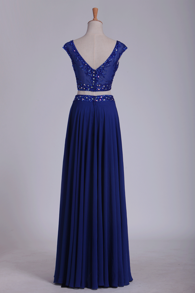 Two Pieces Scoop With Beading Prom Dresses A Line Floor Length Dark Royal Blue