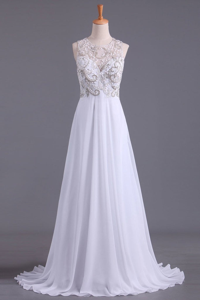 2021 A Line Scoop Prom Dresses Beaded Bodice Floor-Length Chiffon Open Back