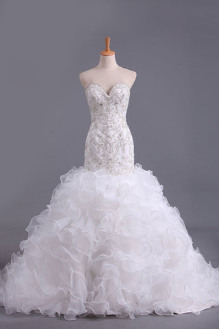 Sweetheart Wedding Dresses Mermaid Organza With Beads And Rhinestones