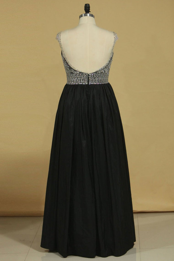 Open Back Off The Shoulder A Line Prom Dresses Taffeta With Beading