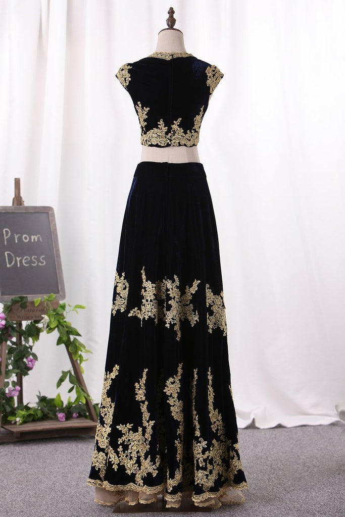 Two Pieces Prom Dresses V Neck A Line Velvet With Applique