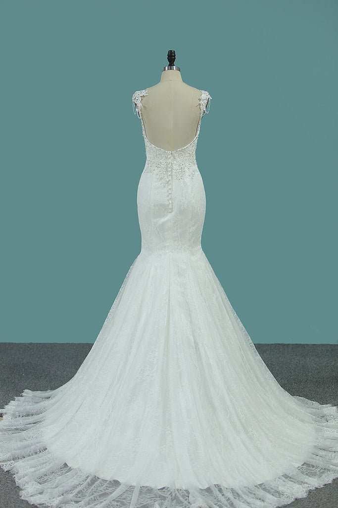 2019 Sexy Open Back Mermaid Spaghetti Straps With Applique Lace Wedding Dresses