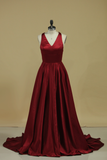 2019 Red V Neck Evening Dresses A Line Sweep Train  With Slit & Ruffles