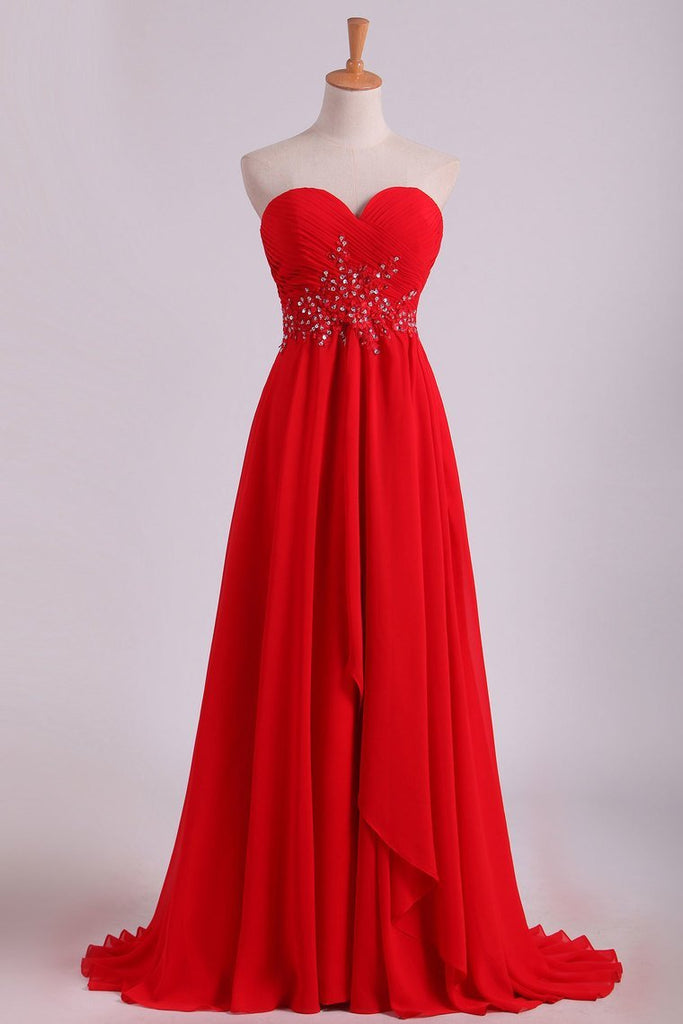 Sweetheart A Line With Beading And Ruffles Chiffon Prom Dresses