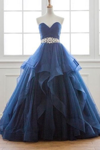 Sweetheart Prom Dresses A Line Tulle With Ruffles And Beads