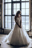 Elegant A-Line 3D Lace Wedding Dresses Chapel Train Wedding Dress