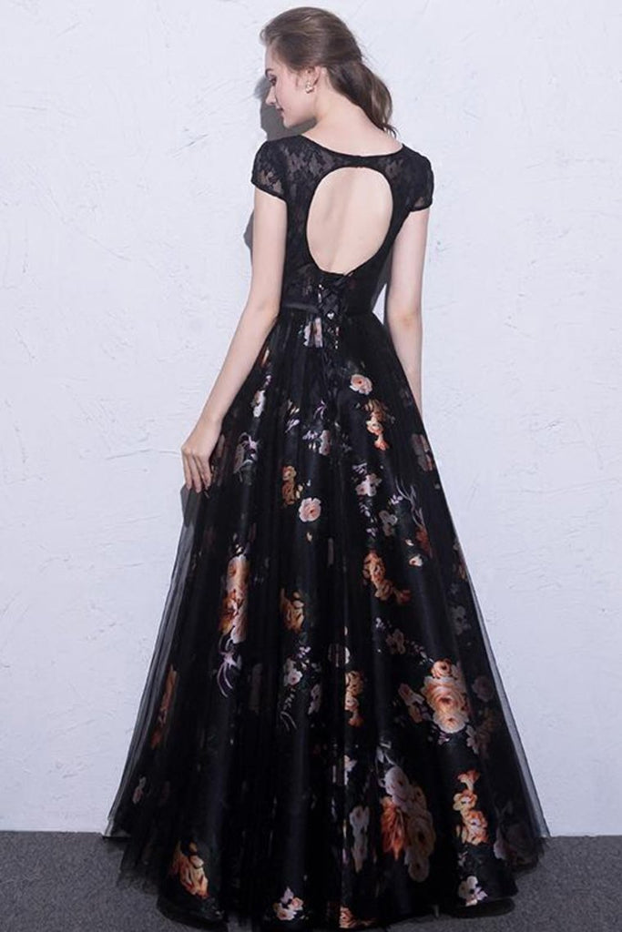 2019 Black Prom Dresses Scoop A-Line Floral Print Sexy Long Lace Prom Dress