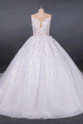 Princess Ball Gown Sheer Neck White Wedding Dresses Lace Appliqued Bridal Dresses SSM15293