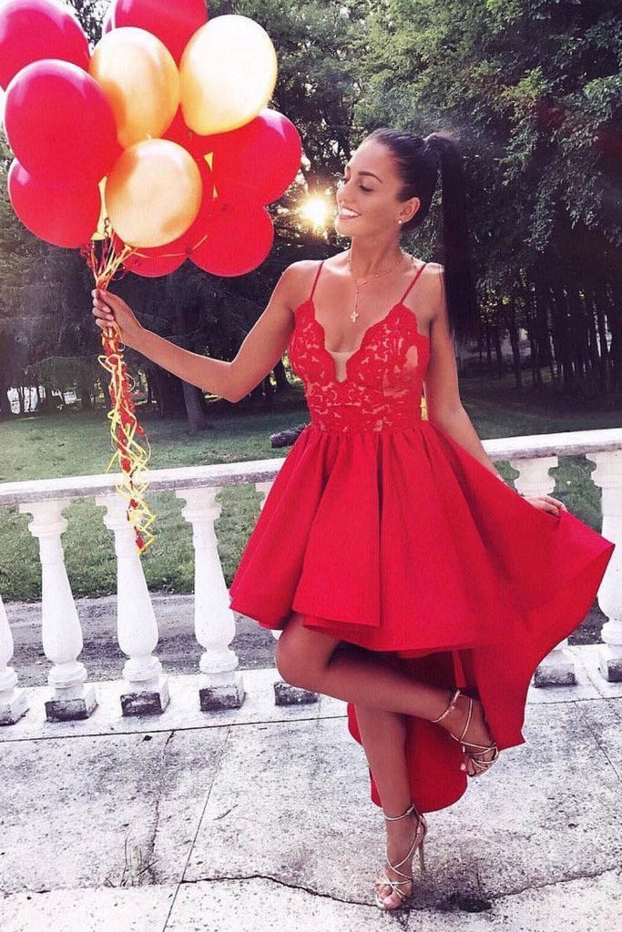 2021 A Line Spaghetti Straps Prom Dresses Satin With Applique Asymmetrical