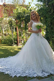 2019 Beautiful Ivory Tulle Ball Gown Wedding Dresses Appliques