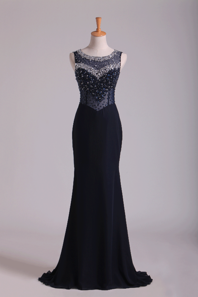 2019 Scoop Open Back Beaded Bodice Floor Length Chiffon Prom Dresses Black