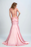 2019 Prom Dresses Scoop Mermaid Elastic Satin With Applique And Beads Sweep Train