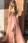 2019 Tulle Prom Dresses A Line V Neck With Beads And Slit Sweep Train