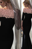 Elegant Black Floral Long Sleeves Sheath Long Prom Evening Dresses SSM493