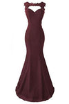 Burgundy Applique Long Mermaid Prom Dresses Evening Dresses JS570