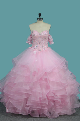 Tulle Ball Gown Sweetheart Quinceanera Dresses With Applique And Beading