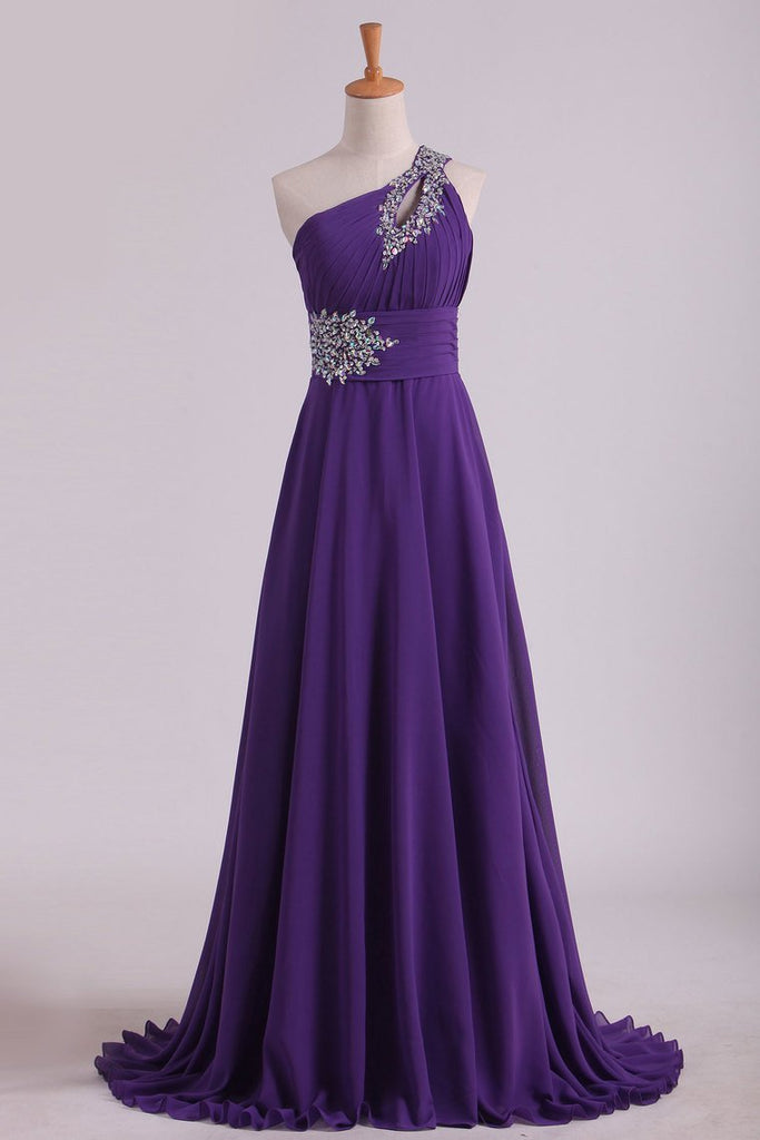 2019 New Arrival Prom Dresses One Shoulder Chiffon A Line With Beading