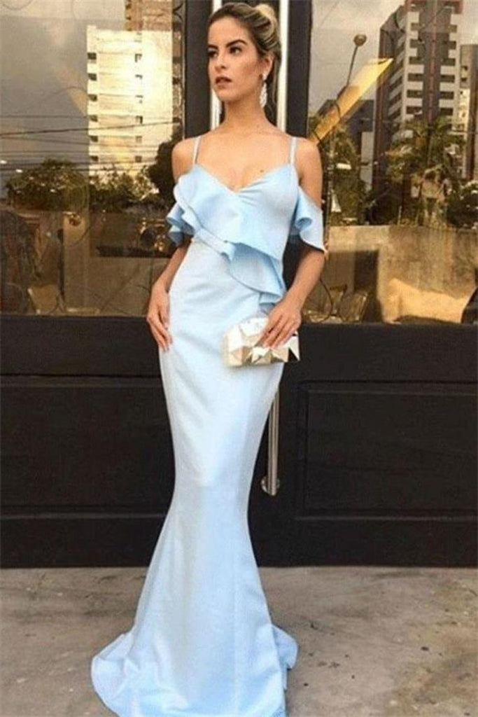 Elegant Sky Blue Spaghetti Straps Long Sheath Mermaid Long Prom Dresses