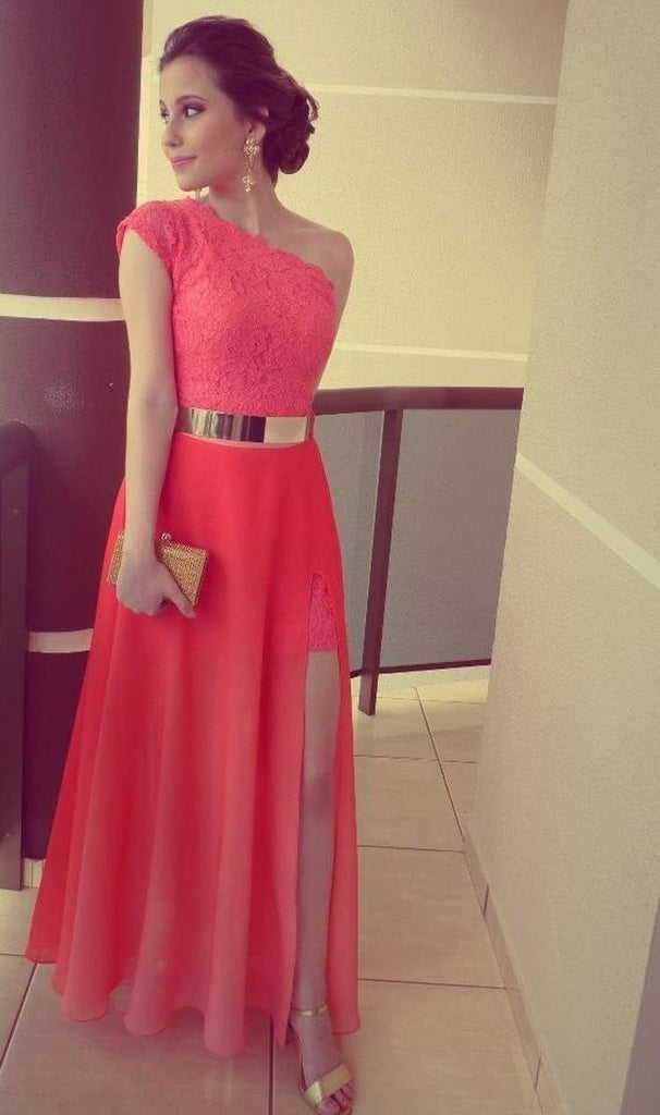 A Line Red One Shoulder Chiffon Lace Long Side Slit Gold Belt Prom Dresses JS68